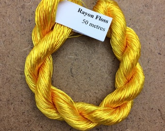 Rayon Floss, Hand Dyed 4 Strand Viscose Floss, Colour No.51 Daffodil, Hand Dyed Viscose Floss, Embroidery Thread, Braidmaking, Kumihimo