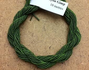 Viscose Gimp Thread,  Hand Dyed Gimp, Viscose Gimp, Green, 10 metres,