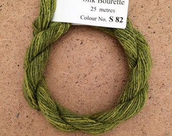 Silk Bourette No.82 Chartreuse, Hand Dyed Embroidery Thread, Artisan Thread, Textile Art