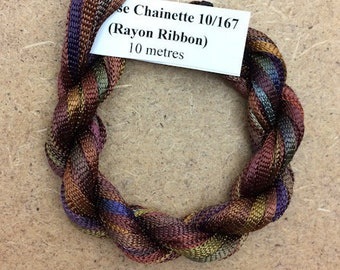 Hand Dyed Viscose Ribbon, Colour No.01 Chocolate, 10m (11 yards), 10/167 Viscose Ribbon, Rayon Ribbon, Embroidery, Thread, Canvaswork