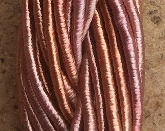 Viscose Gimp Thread,  Hand Dyed Gimp, Viscose Gimp, Peach and Pink variegated, 10 metres,