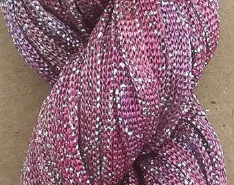 Hand Dyed Sparkle Viscose Ribbon, 10/167 Viscose Ribbon,  Embroidery, Thread, Canvaswork, Colour Pink with touches of Lilac
