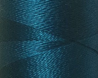 Teal, Silk Machine Threads, 100% Mulberry Silk, Plain Dyed, Luxury Silk Threads, Spun Silk, Solid Colours, 300m, 325yds