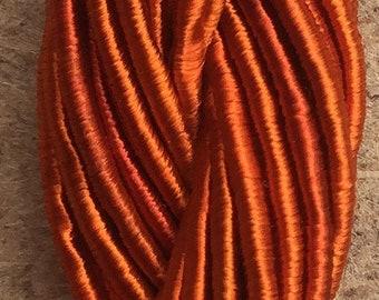 Viscose Gimp Thread,  Hand Dyed Gimp, Viscose Gimp, Burnt Orange, 10 metres,