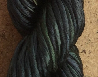 Thick Rayon Floss, Black/Sludgy Green, Viscose Floss, 9 Strand Viscose Floss, Embroidery Thread, Braidmaking, Kumihimo