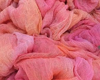 Hand Dyed Cotton Scrim, 6 metre length, Colour Peach Melba, Openweave, Cotton Gauze, Table Runner, Photography Prop, Nuno Felting