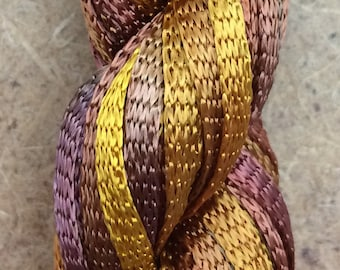 Hand Dyed Viscose Ribbon, Dark Yellow Ochre, 20m (21yds), 10/167 Viscose Ribbon, Rayon Ribbon, Embroidery, Thread, Canvaswork, Needlepoint