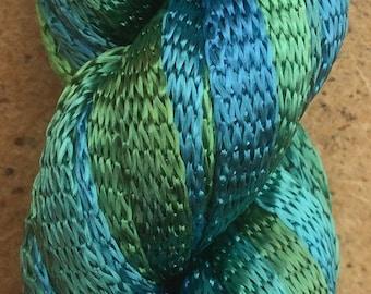 Hand Dyed Viscose Ribbon, 10/167 Viscose Ribbon, Rayon Ribbon, Embroidery, Thread, Canvaswork, Needlepoint, No.08 Lagoon