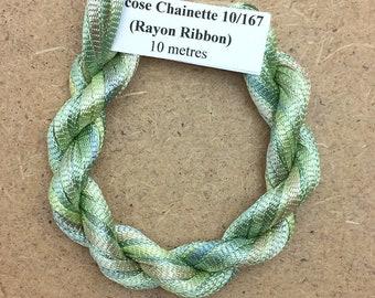 Hand Dyed Viscose Ribbon, Colour No.22 Silver Birch, 10m (11 yards), 10/167 Viscose Ribbon, Rayon Ribbon, Embroidery, Thread, Canvaswork