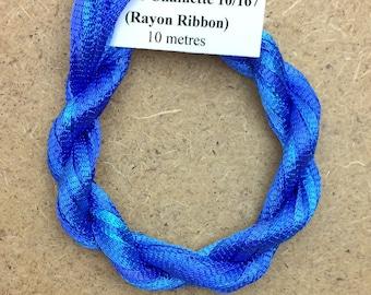 Hand Dyed Viscose Ribbon, Colour No.03 Sky, 10m (11 yards), 10/167 Viscose Ribbon, Rayon Ribbon, Embroidery, Thread, Canvaswork