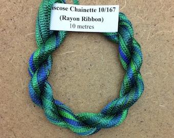 Hand Dyed Viscose Ribbon, Colour No.20 Jade, 10m (11 yards), 10/167 Viscose Ribbon, Rayon Ribbon, Embroidery, Thread, Canvaswork