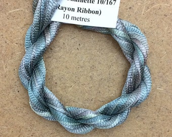 Hand Dyed Viscose Ribbon, Colour No.56 Pebble, 10m (11 yards), 10/167 Viscose Ribbon, Rayon Ribbon, Embroidery, Thread, Canvaswork