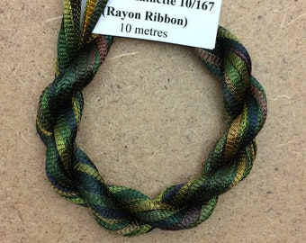 Hand Dyed Viscose Ribbon, Colour No.15 Sludgy Green, 10m (11 yards), 10/167 Viscose Ribbon, Rayon Ribbon, Embroidery, Thread, Canvaswork