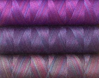 Violet Collection, Hand Dyed Silk Machine Threads, Connoisseur Pack, Luxury Machine Thread, Set of 10 x 120m (130yds)