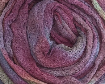 Hand dyed Cotton Scrim, Gauze, Art Cloth, Scarf for nuno felting, Art and Mixed Media projects, Toffee, Pale Brown, Dusky Purple