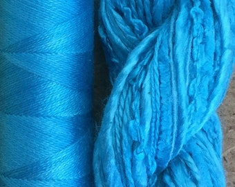 Silk Harmony, Turquoise, Mulberry Silk Combination - Hand Dyed Hand and Machine Threads in a combination Pack