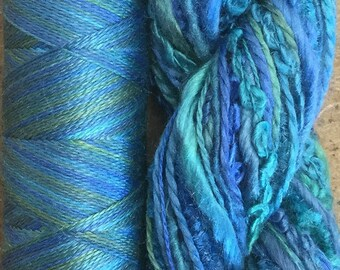 Silk Harmony, No. 08 Lagoon, Mulberry Silk Combination - Hand Dyed Hand and Machine Threads in a combination Pack