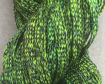 Hand Dyed Sparkle Viscose Ribbon, Embroidery, Needlepoint, Chartreuse