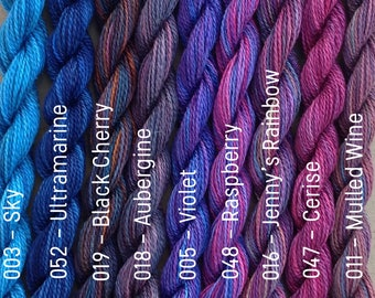 Hand Dyed Embroidery Thread, MEDIUM COTTON, 6/2 wt. (Equivalent to Perle 8)