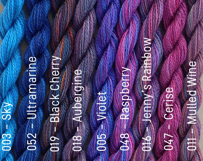 Featured listing image: Hand Dyed Embroidery Thread, MEDIUM COTTON, 6/2 wt. (Equivalent to Perle 8)