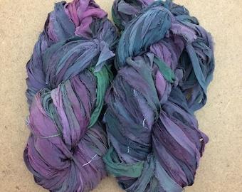 Sari Silk Bridal Chiffon Ribbon, Aubergine, Sludgy Green, Sludgy Teal, Hand Dyed Silk Chiffon Ribbon, Sari Ribbon, 100g, Ref.503