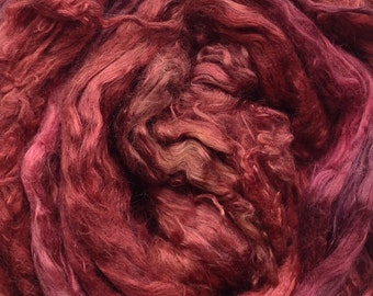 Hand Dyed Silk Brick, A1Grade Mulberry Silk Tops, Luxury Silk Spinning Fibre, Pure Silk Roving,  No.02 Antique Red