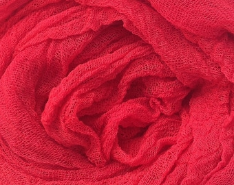 Hand Dyed Cotton Scrim/Gauze/Art Cloth/Scarf, No.14 Christmas, for nuno felting/art and mixed media projects.  Colour - Christmas Red