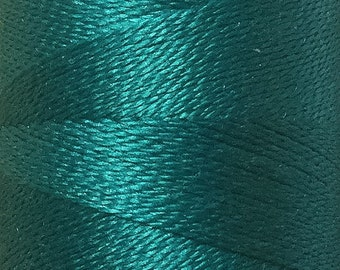 Deep Sea Turquoise, Silk Machine Threads, 100% Mulberry Silk, Plain Dyed, Luxury Silk Threads, Spun Silk, Solid Colours, 300m, 325ydS