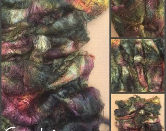 Hand Dyed Mulberry Silk Laps, Colour No.15 Sludgy Green, Spinning Fibres, Feltmaking, Silk Fusion