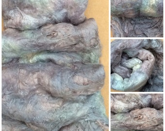 Hand Dyed Mulberry Silk Laps, Colour No.56 Pebble, Textured Silk, Combed Silk Laps, Feltmaking, Spinning