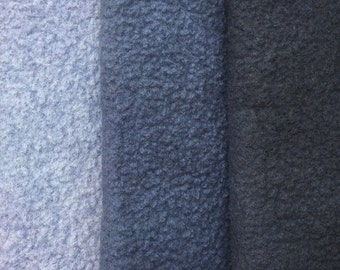 Felt Trio, Hand Dyed Wool and Viscose Felt, 3 Piece Felt Selection, Grey, Dark Grey, Charcoal, 1303