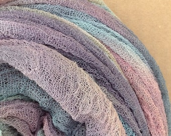 Hand Dyed Cotton Scrim, 6 metre length, Openweave Fabric, Cotton Gauze, Table Runner, Photography Prop, Nuno Felting,  Colour No.87 Grape