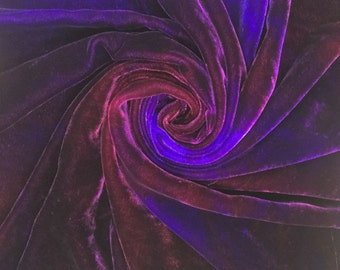 Hand Dyed Silk Velvet, Silk and Viscose Velvet, Silk Velvet Devore, Violet, Purple, Magenta, Blue