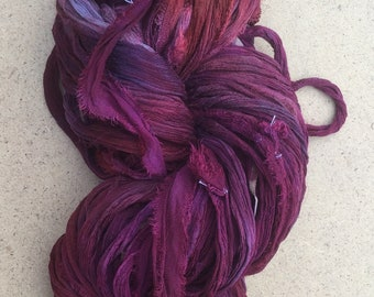 Sari Ribbon Hand Dyed, Rich Red and Aubergine, Silk Ribbon, Wide Silk Ribbon, 100g, ref.7