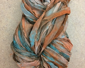 Sari Silk Bridal Chiffon Ribbon, Colour No.21 Rust, Hand Dyed Silk Chiffon Ribbon, Sari Ribbon, 100g, ref.rust2