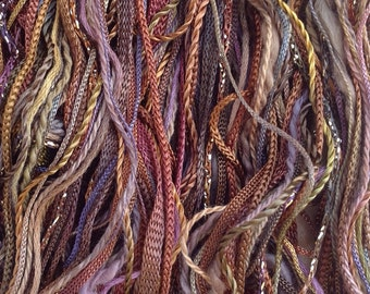 Hand a Dyed Embroidery Threads, One Off, No.01 Chocolate, Variegated Threads, Creative Embellishments, Cordmaking, Braidmaking, Embroidery