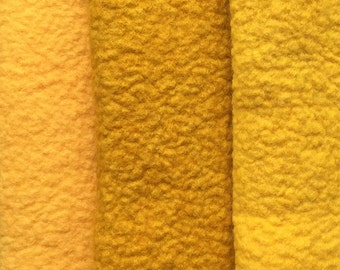 Felt Trio, Hand Dyed Wool and Viscose Felt, 3 Piece Felt Selection, Apricot, Amber, Ochre, 1338