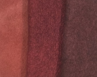 Felt Trio, Hand Dyed Wool and Viscose Felt, 3 Piece Felt Selection, Tan, Chestnut, Chocolate Brown, 1571