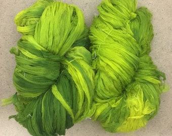 Sari Silk Chiffon Ribbon Hand Dyed, No.82 Chartreuse, Silk Ribbon, Wide Silk Ribbon, Silk Chiffon Ribbon, Colour No.09 Apple