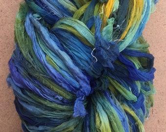 Sari Silk Chiffon Ribbon Hand Dyed, Silk Ribbon, Wide Silk Ribbon, Silk Chiffon Ribbon, Colour Blue and Green