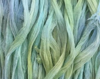 Sari Silk Chiffon Ribbon Hand Dyed, Silk Ribbon, Wide Silk Ribbon, Silk Chiffon Ribbon, Colour Aquamarine and Pale Green