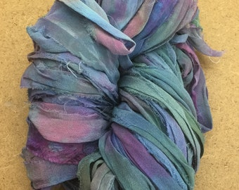 Sari Silk Bridal Chiffon Ribbon, Colour No.57 Oil Slick, Hand Dyed Silk Chiffon Ribbon, Sari Ribbon