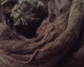 A1 Grade Hand Dyed Mulberry Silk Brick, Hand Dyed Silk Tops, Hand Dyed Silk Roving, Spinning, Feltmaking, Colour No.71 Chestnut