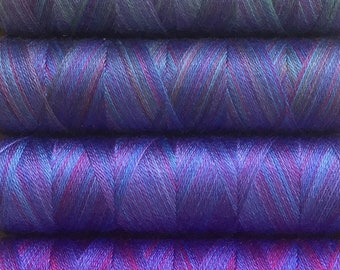 Purple and Blue Selection, Hand Dyed Silk Machine Threads, Connoisseur Pack, Luxury Mach ine Thread, Set of 10 x 120m (130yds)