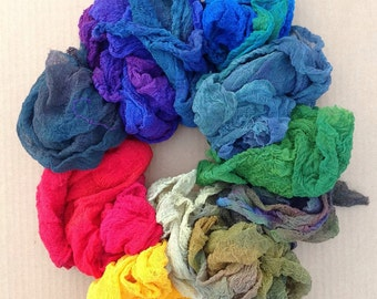 Hand Dyed Cotton Scrim, Hand Dyed Scrim, Cotton Scrim Selection, Hand Dyed Gauze, Openweave Fabric, Dyed Butter Muslin, Nuno felting
