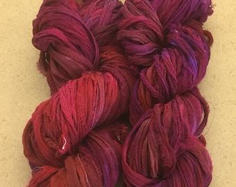 Sari Silk Chiffon Ribbon Hand Dyed, Sari Silk Ribbons, Silk Ribbon, Wide Silk Ribbon, Silk Chiffon Ribbo, Ref.19