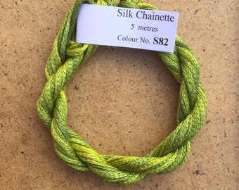 Silk Chainette No.82 Chartreuse, Hand Dyed Embroidery Thread, Artisan Thread, Textile Art