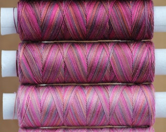 Hand Dyed Quilting Thread, Egyptian Cotton, Variegated Machine Cotton, Colour Ruby Tones, Machine Quilting, Machine Embroidery, UK Seller
