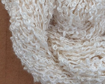 Silk Boucle, Silk Yarn, Weaving Yarn, Crochet Yarn, Natural, Undyed, Ivory,