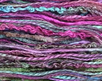 Hand Dyed Silk Thread Selection, Silk One Off, Pinks and Greens, Mulberry Silk, Textured Silk, Boucle, Chenille, Bourette, Noil